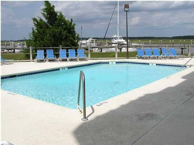 Community Pool with dock, creek & marsh views