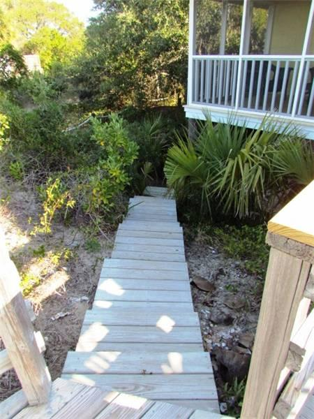 Path from beachside of house to parking area