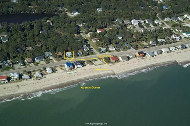 Aerial view of house and the beach access