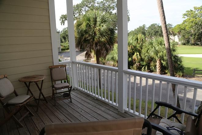 Covered Deck on 1st floor with golf views