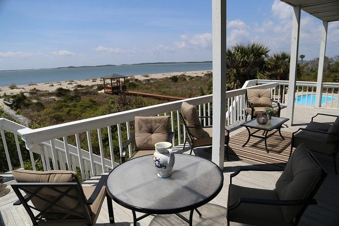 Covered Beach Front Porch on the 1st Floor