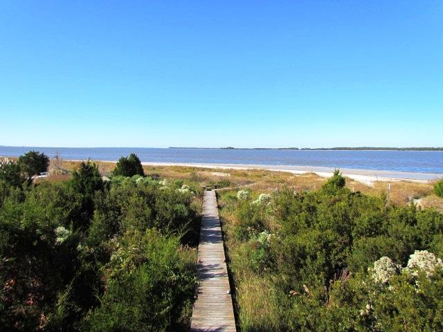 Boardwalk to beach from house
